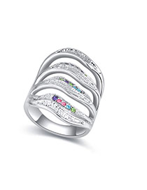 Fashion Multi-color Diamond Decorated Multi-color Design Simple Ring