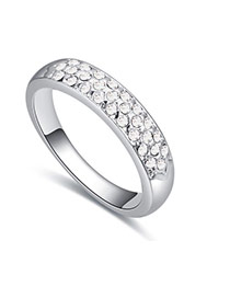 Fashion White Round Diamond Decorated Color Matching Design Ring