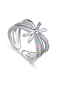 Fashion Multi-color Diamond Decorated Hollow Out Design Simple Ring