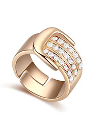 Fashion White Diamond Decorated Buckle Shape Design Ring
