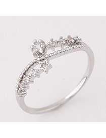 Elegant Silver Color Star Shape Decorated Hollow Out Design Ring
