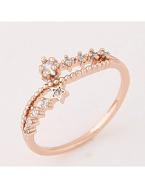 Elegant Rose Gold Star Shape Decorated Hollow Out Design Ring