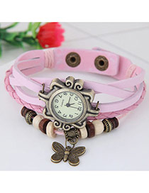 Vintage Pink Butterfly Pendant Decorated Multi-color Simple Watch