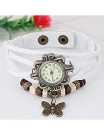 Vintage White Butterfly Pendant Decorated Multi-color Simple Watch