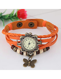 Vintage Orange Butterfly Pendant Decorated Multi-color Simple Watch