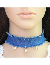 Fashion Blue Choker Of Pure Color Decorated With Pendants