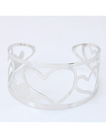 Bohemia Silver Color Heart Shape Decorated Simple Hollow Out Opening Bracelet