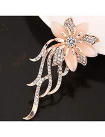 Elegant Light Orange Round Shape Diamond Decorated Simple Brooch