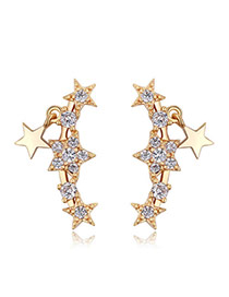 Fashion Gold Color Metal Star Decorated Simple Pure Color Earrings