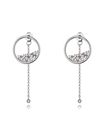 Fashion Silver Color Round Shape Diamond Decorated Simple Pure Color Earrings