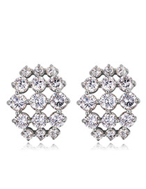 Elegant Silver Solor Round Shape Diamond Decorated Simple Hollow Out Earrings