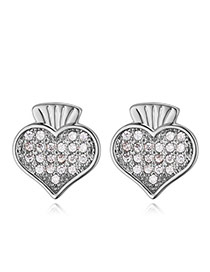 Elegant Silver Color Heart Shape Pendant Decorated Simple Pure Color Earrings