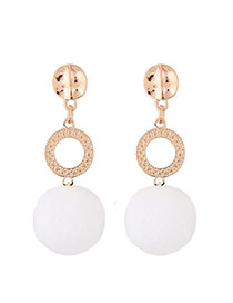 Fashion White Fuzzy Ball Pendant Decorated Color Matching Earrings