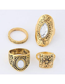Trendy Antique Gold Oval Shape Diamond Decorated Irregular Shape Ring(4pc)