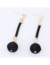 Elegant Black Fuzzy Ball Pendant Decorated Simple Long Earrings