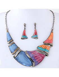 Trendy Multi-color Color Matching Decorated Irregular Shape Jewelry Sets
