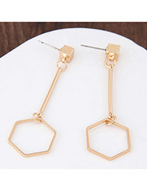 Personalized Gold Color Rhombus Shape Pendant Decorated Pure Color Earrings