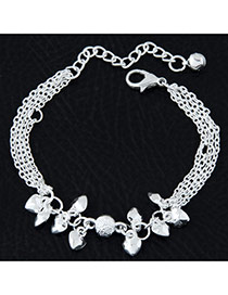 Fashion Silvercolor Heart Shape Pendant Decorated Pure Color Multi-layer Bracelet