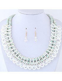 Elegant White Round Shape Diamond Decorated Pure Color Jewelry Sets