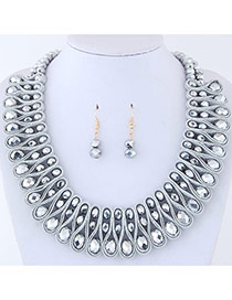 Elegant Silver Color Round Shape Diamond Decorated Pure Color Jewelry Sets