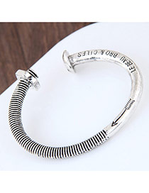 Fashion Silver Color Letter Decorated Screw Cap Shape Pure Color Bracelet
