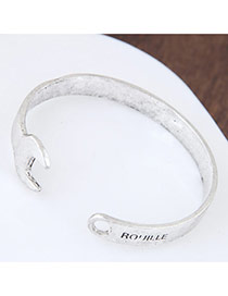 Fashion Silver Color Letter Decorated Wrench Shape Pure Color Bracelet