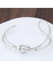 Fashion Silver Color Bowknot Shape Decorated Pure Color Opening Bracelet