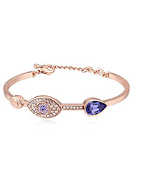 Fashion Champagne+purple Eye Shape Decorated Color Matching Simple Bracelet
