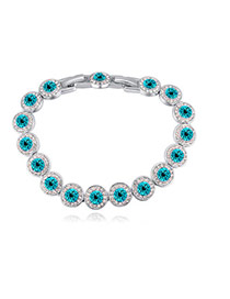 Fashion Blue Round Shape Diamond Decorated Pure Color Bracelet