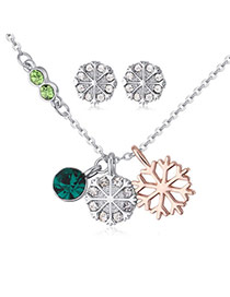 Fashion Dark Green Snowflake Pendant Decorated Color Matching Jewelry Sets