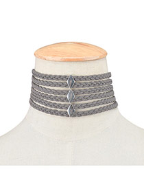 Exaggerated Gray Metal Rhombus Decorated Hollow Out Multilayer Chocker