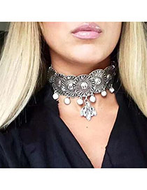 Fashion Silver Color Oval Shape Diamond Decorated Flower Pattern Design Choker