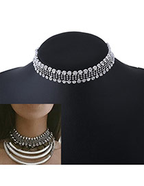 Fashion Silver Color Diamond Decorated Hollow Out Design Simple Choker