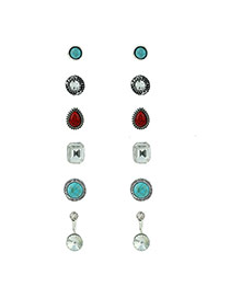 Fashion Blue Diamond Decorated Round Shape Design Simple Earrings (6pcs)