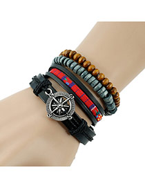Fashion Black Anchor&beads Decorated Multi-layer Design Simple Bracelet