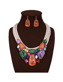 Exaggerated Multi-color Irregular Shape Gemstone Decorated Color Matching Jewelry Sets