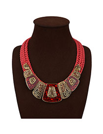 Exaggerated Red Irregular Shape Decorated Multi-layer Hand-woven Necklace