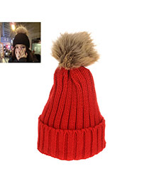 Sweet Red Fuzzy Ball Decorated Pure Color Cap