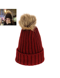 Fashion Black Pom Ball Decorated Hat