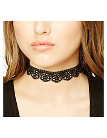 Elegant Black Hollow Out Flower Decorated Pure Color Lace Necklace