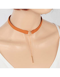 Elegant Coffee Vertical Bar Pendant Decorated Pure Color Chocker