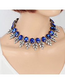 Elegant Sapphire Blue Oval Diamond&leaf Shape Decorated Simple Chocker