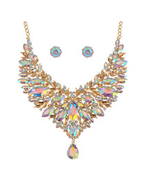 Fashion Multi-color Water Drop Shape Diamond Decorated Hollow Out Design Jewelry Sets