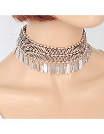 Fashion Silver Color Leaf Pendant Decorated Hollow Out Pure Color Choker