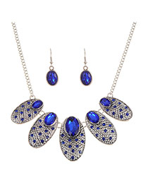 Fashion Sapphire Blue Diamond Decorated Oval Shape Jewelry Sets