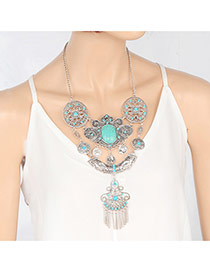 Fashion Silver Color Long Tassel Pendant Decorated Hollow Out Design Necklace