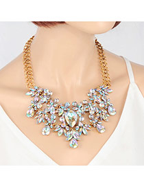 Elegant Multi-color Waterdrop Diamond Pendant Decorated Short Chain Necklace