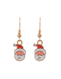 Fashion Multi-color Father Christmas Pendant Decorated Simple Earrings