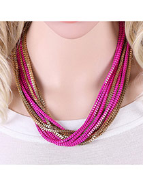 Fashion Plum Red Color Matching Decorated Multi-layer Short Chain Necklace