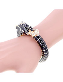Lovely Black Diamond Decorated Elephant Shape Simple Bracelet